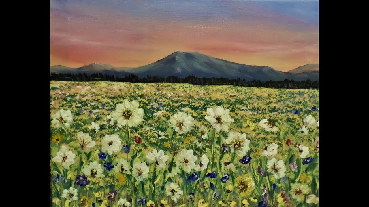 How To Paint A Field Of Flowers With Acrylic Paint For Beginners