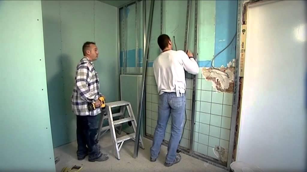Finition d 39 une salle de bains avec gyproc youtube - Sechoir salle de bain mural ...