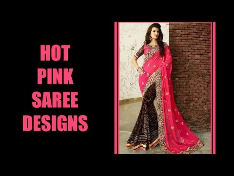 Latest Hot Pink Saree Designs