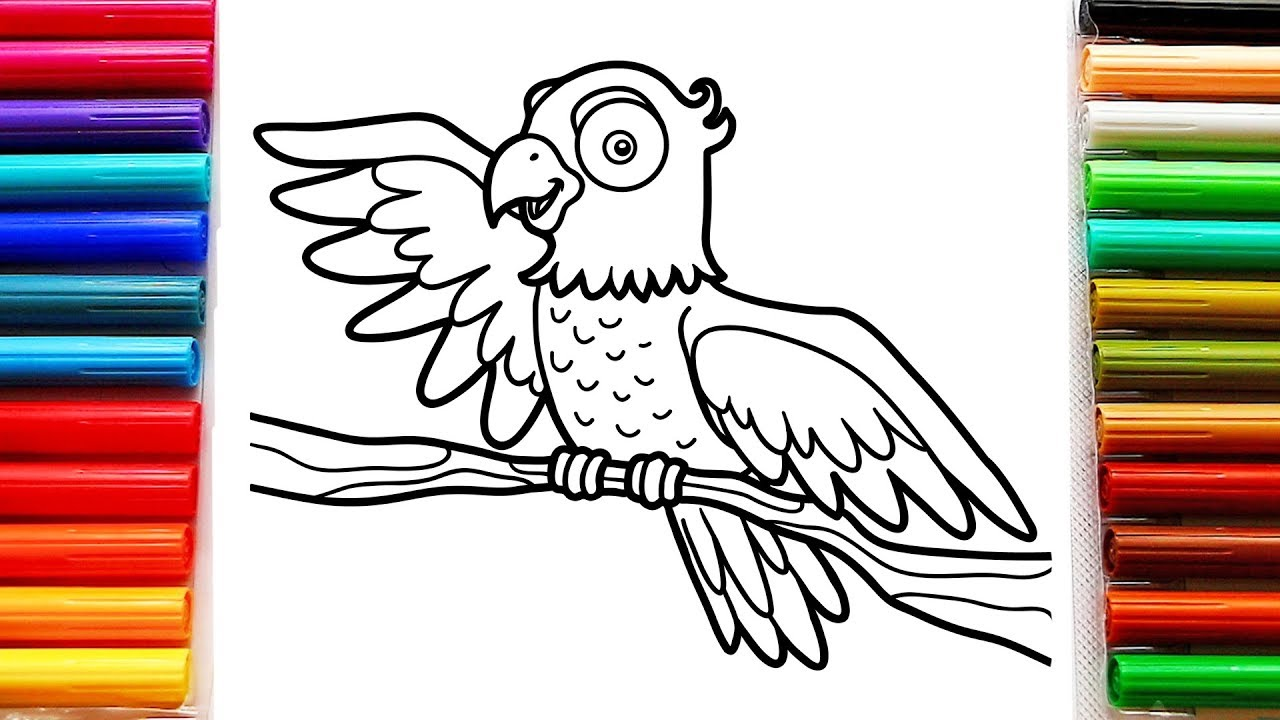 coloring for kids with big parrot bird - colouring pages for toddlers