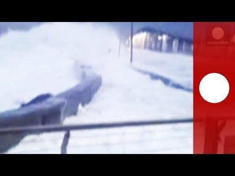 Ireland winter storm: Huge waves batter coast, flood streets