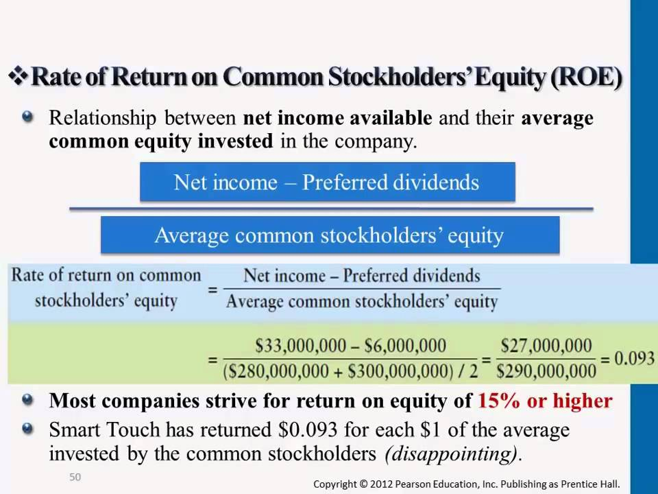 Rate Of Return On Common Stockholders Equity Roe Youtube