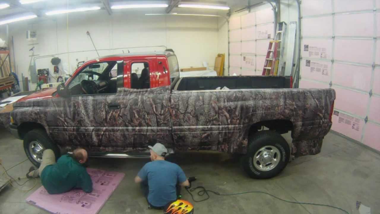 Camo Truck Wrap Dodge Oak Ambush Pattern Matte Black