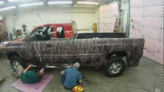 Camo Truck Wrap - Dodge - Oak Ambush Pattern - Matte Black - time Lapse