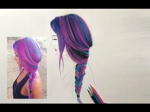 COLORING HAIR WITH COLOR PENCILS!! - YouTube