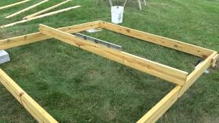The start of my playhouse build, Get the sub floor square and level.