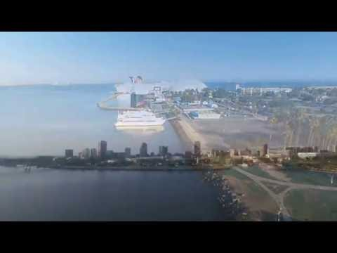 Long Beach Queen Mary Skyline shot by Drone