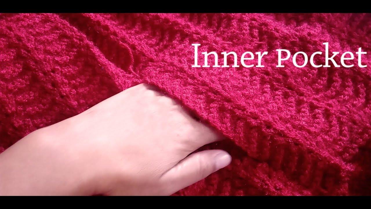 3fd45776de79 Knitting Inner Pocket for Cardigan   Jacket - YouTube