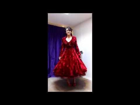 Red Crushed Velvet Wedding Dress