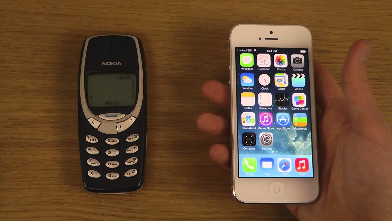 nokia 3310 vs iphone 5. IPhone 5 IOS 7.0.4 Jailbroken Vs. Nokia 3310 - Which Is Faster? YouTube Vs Iphone