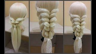 Коса с помощью резинок -