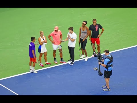 Roger Federer, Rafael Nadal, Venus Williams and Angelique Kerber at US Open Arthur Ashe Kids Day 201