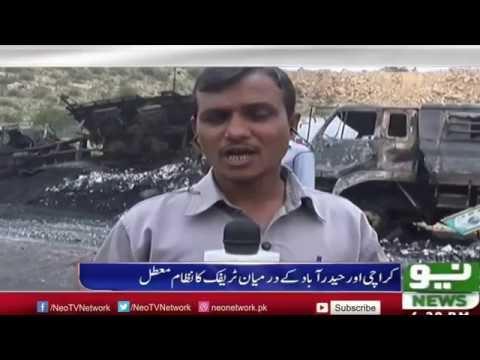 Karachi Highway Pe Hadsa Traffic 12 Ghantay Say Jam | Neo News