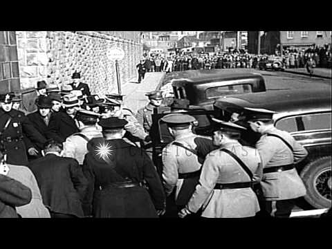 Bruno Hauptmann taken to the State Penitentiary for murder of the Lindbergh baby. HD Stock Footage