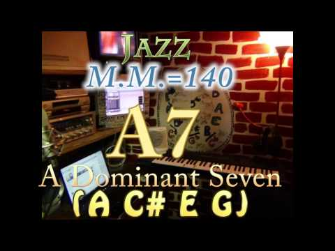 a7 dominant seven (a c# e g) - jazz - m.m.=140 - one chord backing track