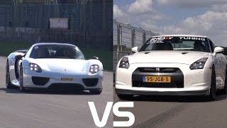 drag race porsche 918 spyder vs 1325hp nissan r35 gt r. Black Bedroom Furniture Sets. Home Design Ideas