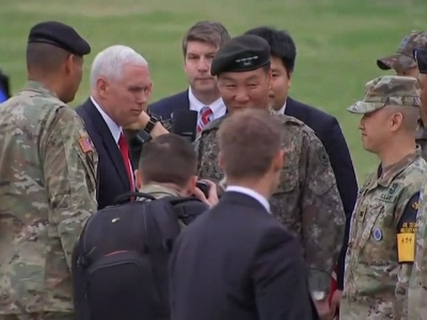Thumbnail: Raw: Pence Visits Base near Demilitarized Zone
