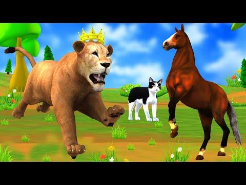 घोड़ा और शेर चतुर बिल्ली Hindi Kahani हिंदी कहानियां- Panchatantra Moral Stories - Hindi Fairy Tales