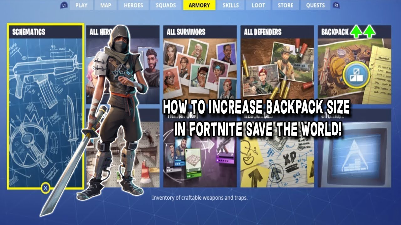 Fortnite Save The World How To Increase Backpack Size Youtube