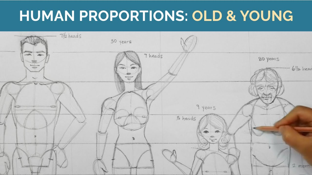 How to Draw Human BODY PROPORTIONS 💪🏽 Figure Drawing Tutorial (Young & Old) - Virtual Art Class