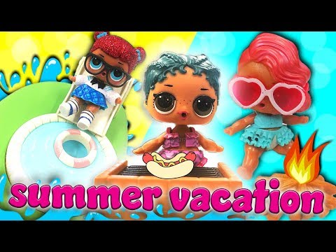 lol-surprise-dolls-summer-beach-vacation!-featuring-coconut-qt,-treasure,-precious,-and-vacay-babay!