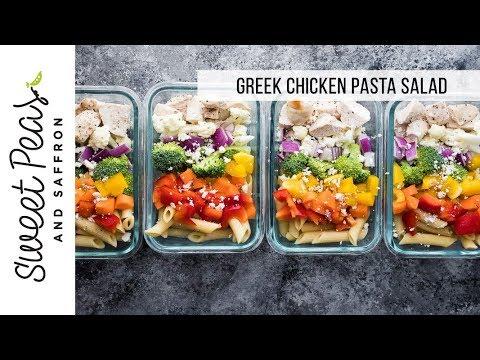 Healthy Greek Chicken Pasta Salad