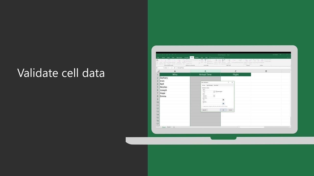 Gain input control with data validation in Excel