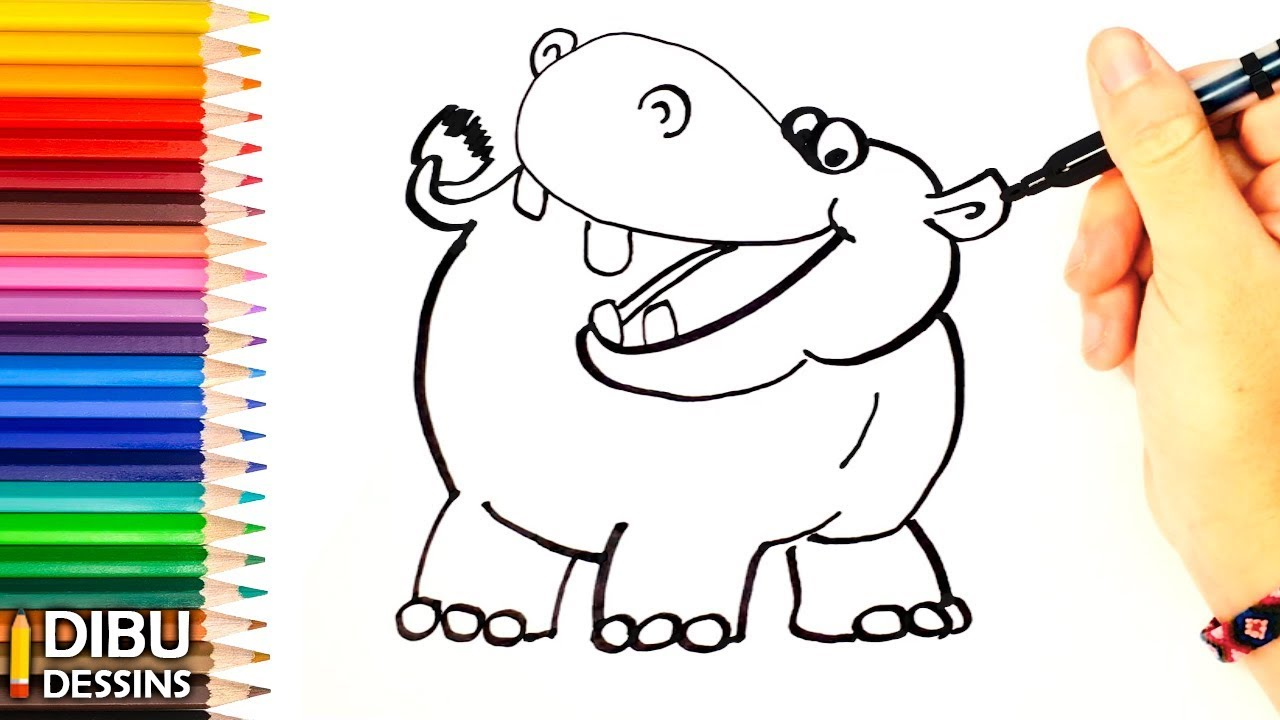 Comment Dessiner Un Hippopotame Dessins Faciles Youtube
