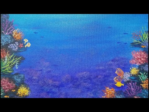 OCEAN Coral Reef Acrylic Painting Tutorial LIVE Beginner Lesson  | How To Paint Underwater Sea Life