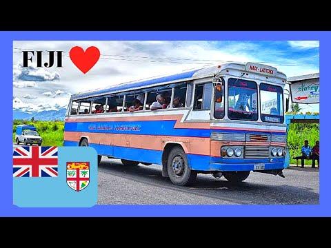 FIJI, riding a 1950s LEYLAND BUS from NADI to WAILOALOA BEACH