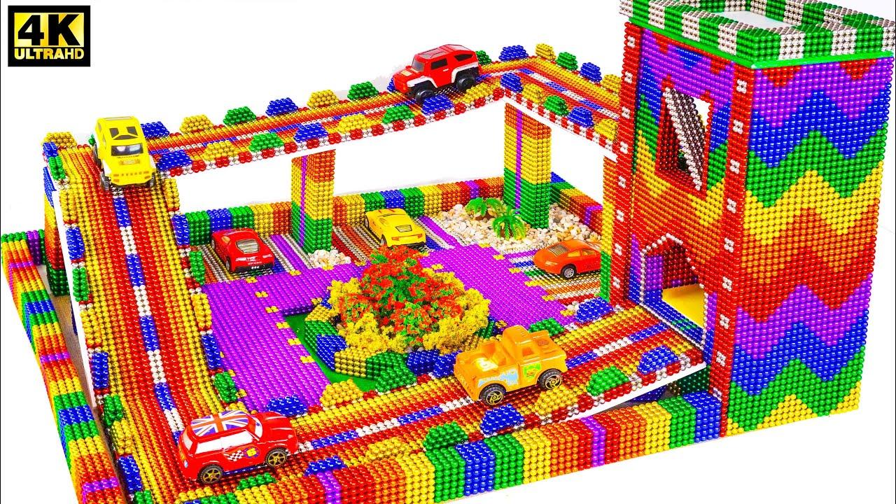 DIY - بناء مرآب للسيارات من الكرات المغناطيسية (مرضية) 💖  Magnets