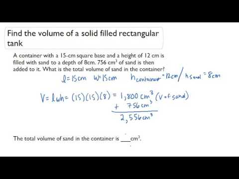Find the volume of a solid filled rectangular tank