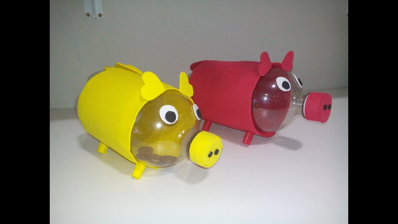 cofrinho de porquinho feito   garrafa pet   youtube