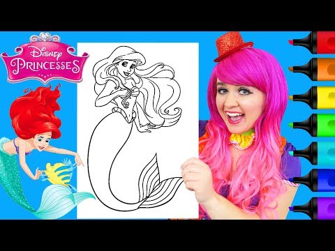 coloring-ariel-little-mermaid-disney-princess-coloring-page-prismacolor-markers-|-kimmi-the-clown
