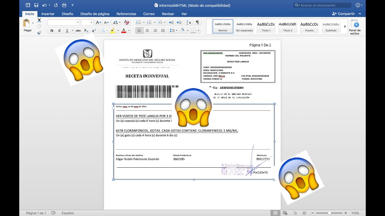RECETA IMSS EPICA: EDITABLE EN WORD - YouTube