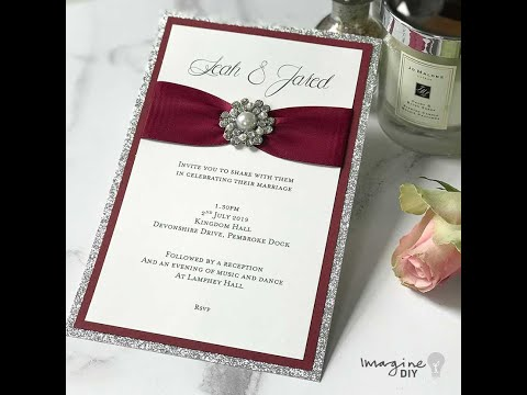 How To Make Wedding Invitations - Using Glitter, Gathered Ribbon and Pearl Decoration