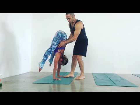 Circus Artist Yuval Handstand Press Assist with Kino Yoga