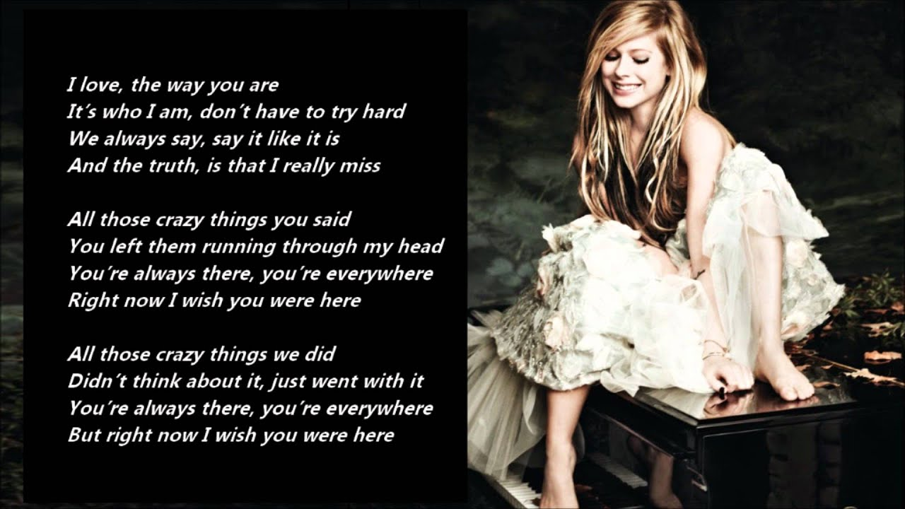 Avril Lavigne Wish You Were Here Lyrics On A Screen YouTube