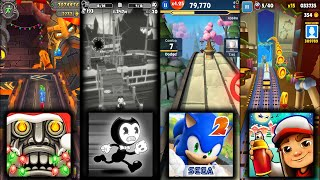 Temple Run 2 Holiday Havoc Vs Bendy in Nightmare Run Vs Sonic Dash 2 Sonic Boom Vs Subway Surfers