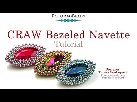 How to Bezel a Navette with CRAW and Peyote Stitches- DIY Jewelry Making Tutorial by PotomacBeads