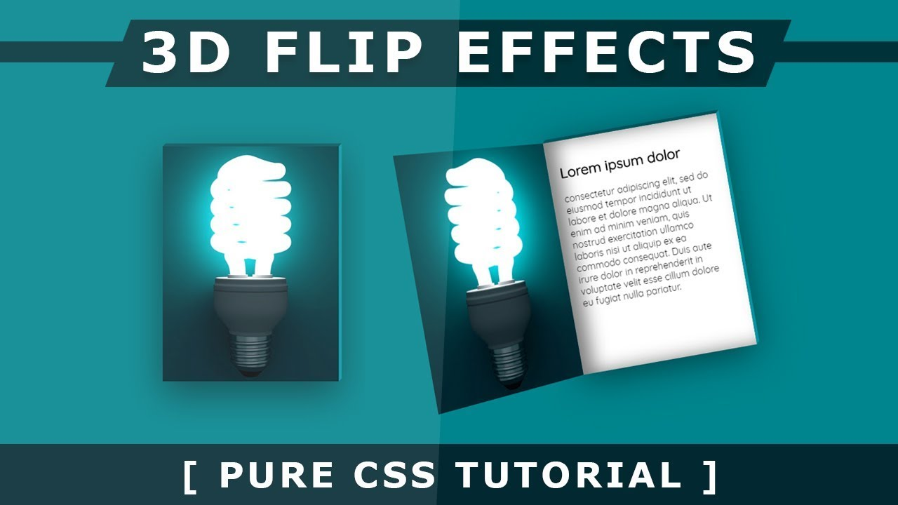 3D Flip Hover Effects - CSS3 Hover Effects - Pure Html CSS 3D Flipping  Image - Html5 CSS3 Tutorial