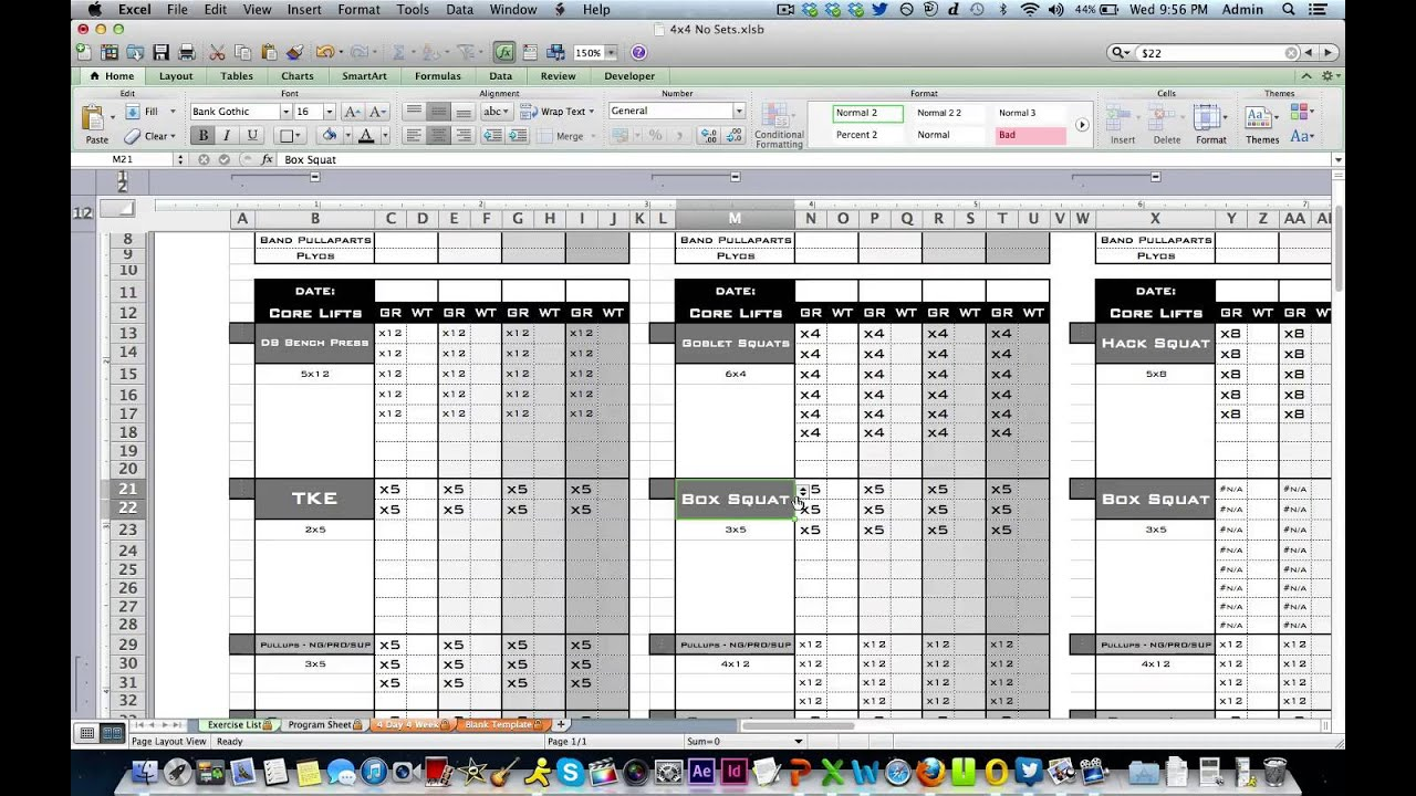 Personal Training Workout Log From Excel Designs Youtube