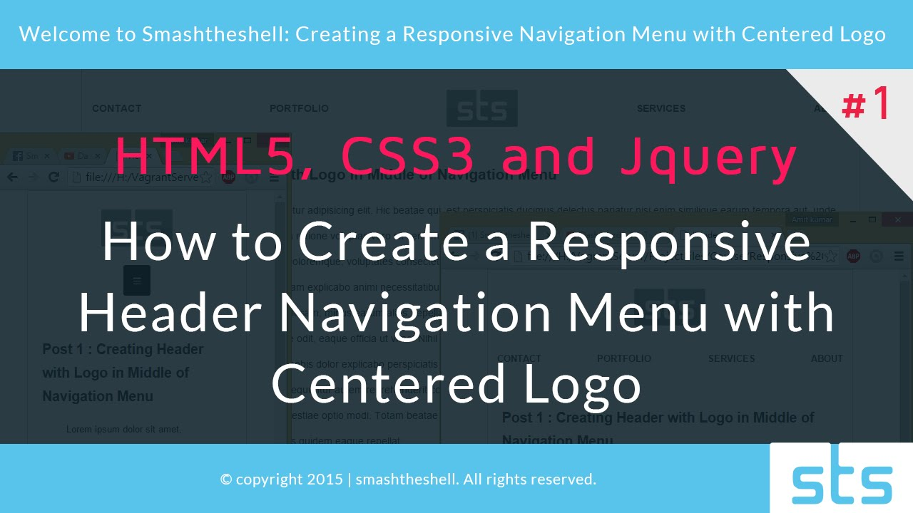 How to Create a Responsive Header Navigation Menu with Centered Logo | Part  1 of 5