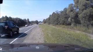 Прокол колеса от железной арматуры (90-100км-ч)(Скорость около 90-100, догоняю грузовик, дорога хреновая. В последний момент замечаю перекладину, решил что..., 2014-01-29T11:39:25.000Z)