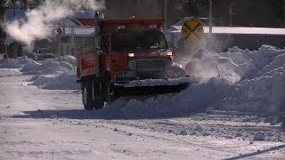 Snow Plowing Sterling Dump Truck Pushing Back Drifts