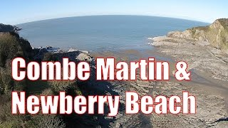 Combe Martin & Newberry Beach in Devon from the air at Low Tide