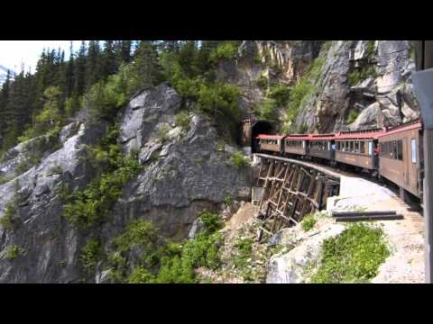White Pass & Yukon Railroad: entering Tunnel Mountain via the wood trestle