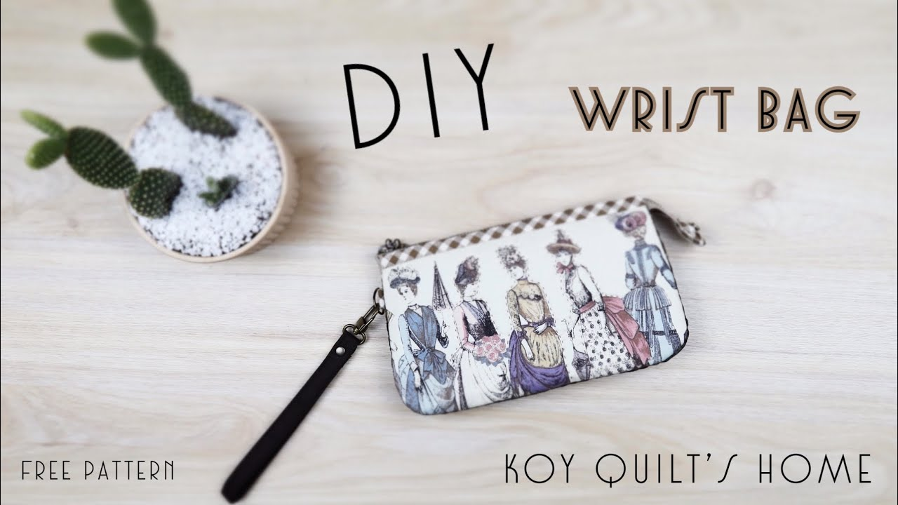 DIY Wrist Bag   วิธีทำกระเป๋าคล้องมือ   Purse bag with wrist strap  กระเป๋าผ้า   Handmade Tutorial  