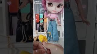 Doll blyther mini bags 1/6 . túi xach cho búp bê barbie xinyi blyther muse fr ken