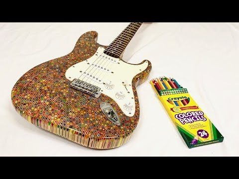 (WATCH) Guitar Built Out Of 1200 Colored Pencils